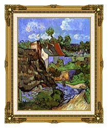 Vincent Van Gogh Houses At Auvers canvas with museum ornate gold frame