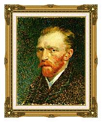 Vincent Van Gogh Self Portrait canvas with museum ornate gold frame