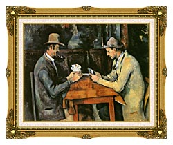 Paul Cezanne The Card Players canvas with museum ornate gold frame