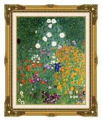 Gustav Klimt Farm Garden Portrait Detail canvas with museum ornate gold frame