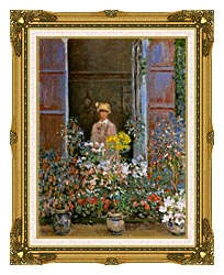 Claude Monet Camille Monet At The Window canvas with museum ornate gold frame