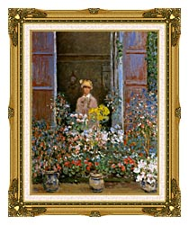 Claude Monet Camille Monet At The Window 1873 canvas with museum ornate gold frame