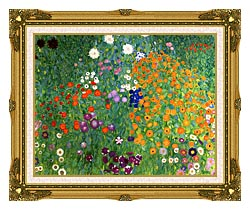 Gustav Klimt Farm Garden 1905 6 Detail canvas with museum ornate gold frame
