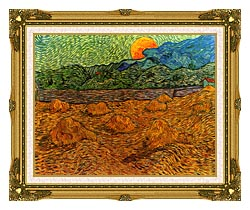 Vincent Van Gogh Evening Landscape With Rising Moon canvas with museum ornate gold frame