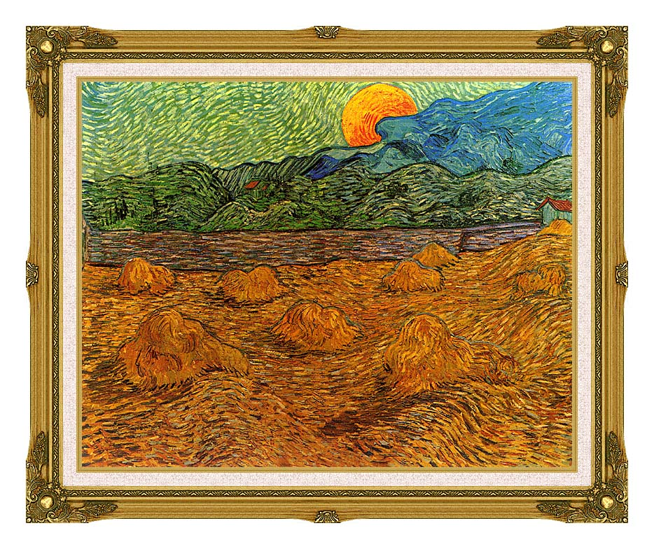 Vincent van Gogh Evening Landscape with Rising Moon with Museum Ornate Frame w/Liner