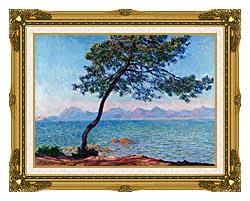 Claude Monet Antibes canvas with museum ornate gold frame