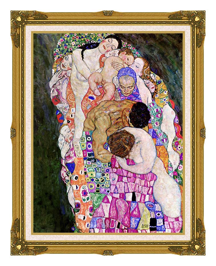Gustav Klimt Death and Life (Life detail) with Museum Ornate Frame w/Liner