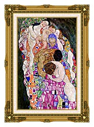 Gustav Klimt Death And Life Life Portrait Detail canvas with museum ornate gold frame