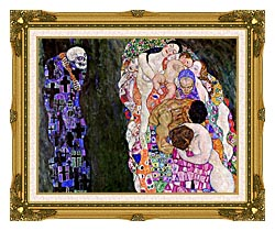 Gustav Klimt Death And Life Detail canvas with museum ornate gold frame