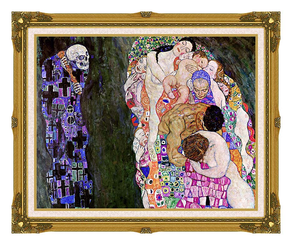 Gustav Klimt Death and Life (detail) with Museum Ornate Frame w/Liner