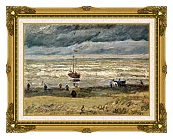 Vincent Van Gogh View Of The Sea At Scheveningen canvas with museum ornate gold frame