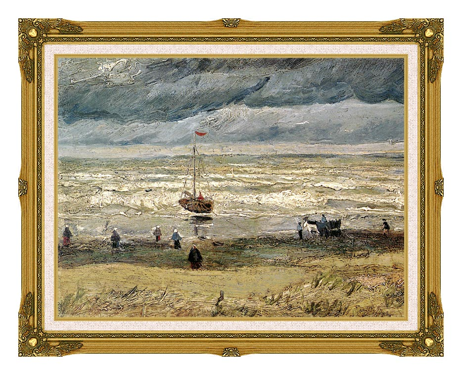 Vincent van Gogh View of the Sea at Scheveningen with Museum Ornate Frame w/Liner