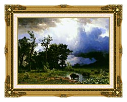 Albert Bierstadt Buffalo Trail The Impending Storm canvas with museum ornate gold frame