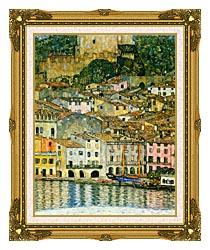 Gustav Klimt Malcesine On Lake Garda Detail canvas with museum ornate gold frame