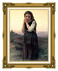 William Bouguereau Little Shepherdess canvas with museum ornate gold frame