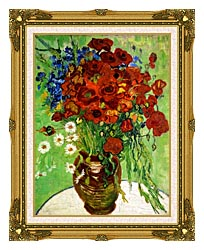 Vincent Van Gogh Still Life Red Poppies And Daisies canvas with museum ornate gold frame