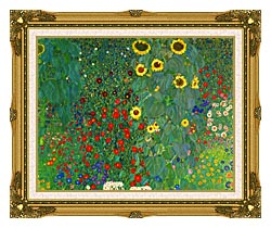 Gustav Klimt Farm Garden With Sunflowers Detail canvas with museum ornate gold frame