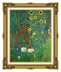 Gustav Klimt Farm Garden With Sunflowers Portrait Detail canvas with museum ornate gold frame