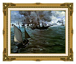 Edouard Manet Battle Of The Kearsarge And The Alabama Detail canvas with museum ornate gold frame