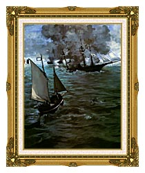 Edouard Manet Battle Of The Kearsarge And The Alabama Portrait Detail canvas with museum ornate gold frame