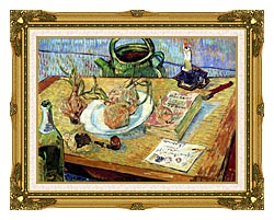 Vincent Van Gogh Still Life Plate With Onions Drawing Board Pipe And Other Objects canvas with museum ornate gold frame