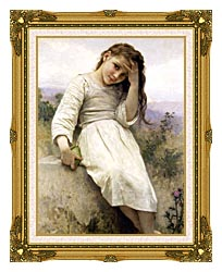 William Bouguereau Little Thief canvas with museum ornate gold frame