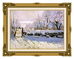 Claude Monet The Magpie Snow Effect canvas with museum ornate gold frame