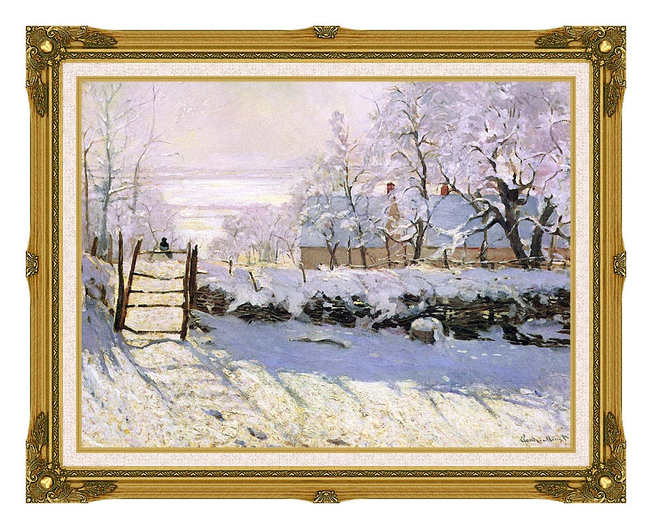 Claude Monet The Magpie, Snow Effect with Museum Ornate Frame w/Liner