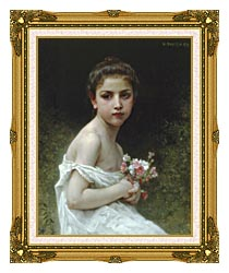 William Bouguereau Little Girl With A Bouquet canvas with museum ornate gold frame