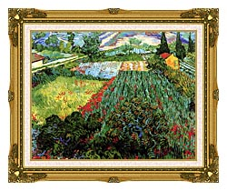 Vincent Van Gogh Field With Poppies canvas with museum ornate gold frame