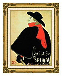 Henri De Toulouse Lautrec Aristide Bruant In His Cabaret canvas with museum ornate gold frame