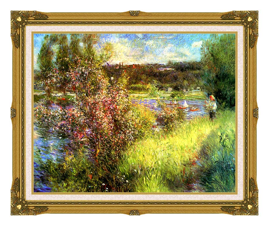 Pierre Auguste Renoir The Seine at Chatou with Museum Ornate Frame w/Liner
