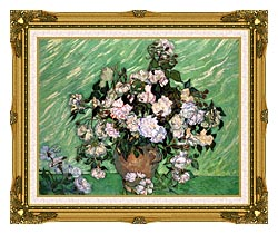 Vincent Van Gogh Vase With Pink Roses I canvas with museum ornate gold frame