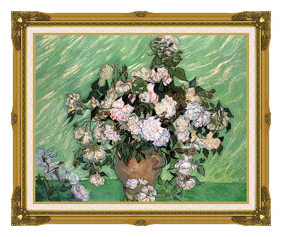 Vincent van Gogh Vase with Pink Roses I with Museum Ornate Frame w/Liner