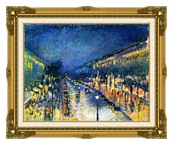 Camille Pissarro Boulevard Montmartre Night Effect canvas with museum ornate gold frame