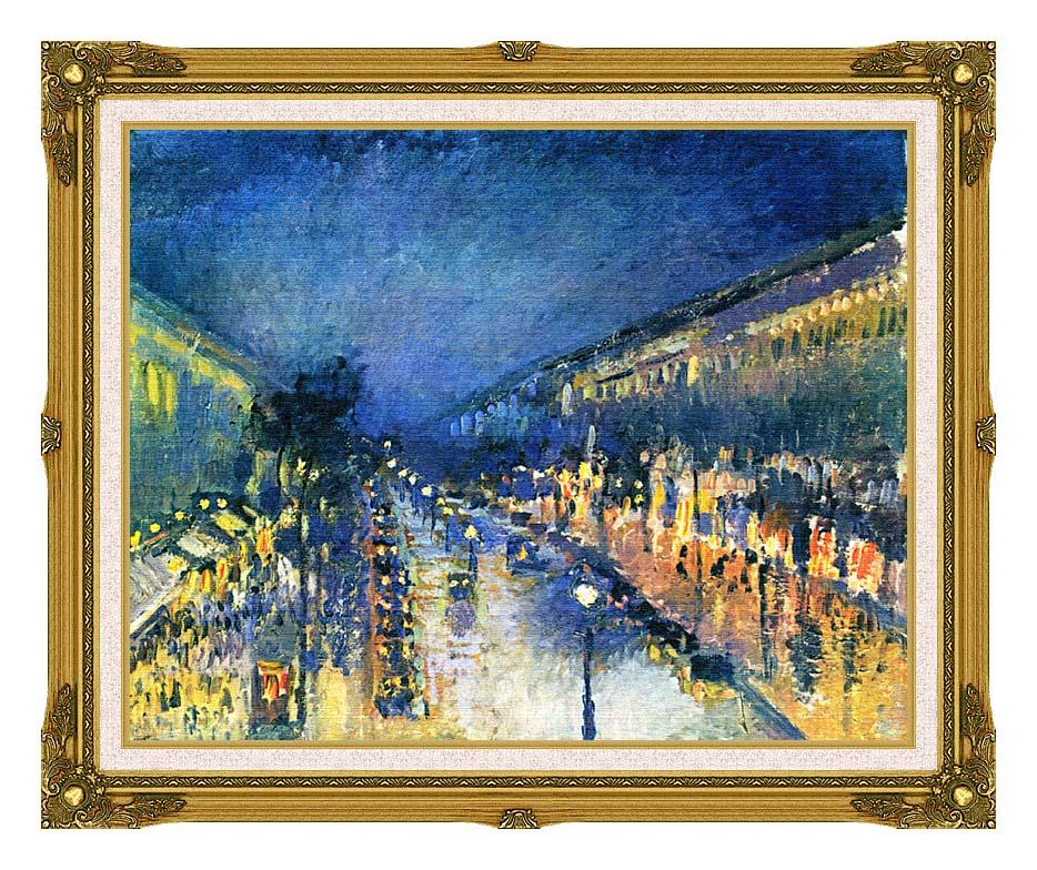 Camille Pissarro Boulevard Montmartre, Night Effect with Museum Ornate Frame w/Liner