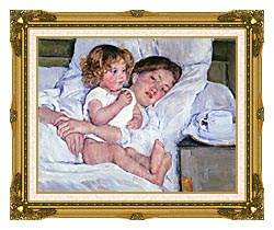 Mary Cassatt Breakfast In Bed canvas with museum ornate gold frame