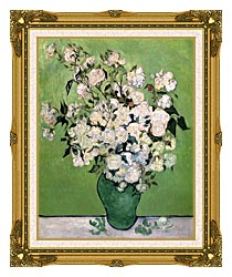 Vincent Van Gogh Vase With Pink Roses II canvas with museum ornate gold frame