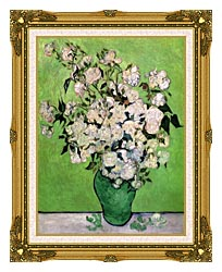 Vincent Van Gogh Vase With Pink Roses III canvas with museum ornate gold frame