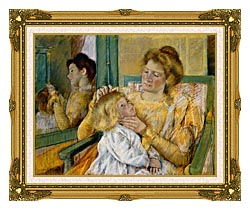 Mary Cassatt Mother Combing Her Childs Hair canvas with museum ornate gold frame