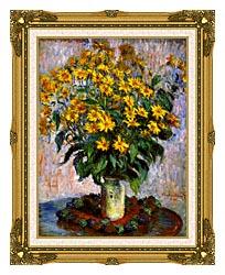 Claude Monet Jerusalem Artichoke Flowers canvas with museum ornate gold frame