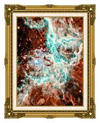 Courtesy Nasa Jpl Caltech 30 Doradus Nebula In Large Magellic Cloud Portrait Detail canvas with museum ornate gold frame