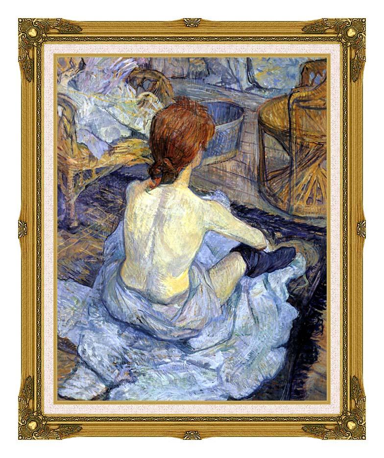 Henri de Toulouse Lautrec Rousse, La Toilette with Museum Ornate Frame w/Liner