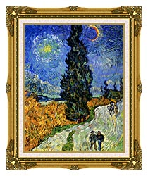 Vincent Van Gogh Road With Men Walking Carriage Cypress Star And Crescent Moon canvas with museum ornate gold frame
