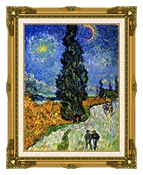 Vincent Van Gogh Road With Men Walking Carriage Cypress Star And Crescent Moon 1890 canvas with museum ornate gold frame