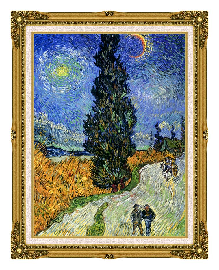 Vincent van Gogh Road with Men Walking, Carriage, Cypress, Star and Crescent Moon 1890 with Museum Ornate Frame w/Liner