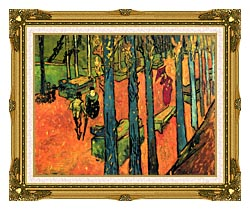Vincent Van Gogh Les Alyscamps Avenue At Arles canvas with museum ornate gold frame