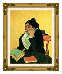 Vincent Van Gogh Madame Ginoux With Books canvas with museum ornate gold frame