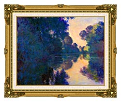 Claude Monet Morning On The Seine Near Giverny canvas with museum ornate gold frame