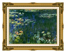Claude Monet Green Reflections I Left Detail canvas with museum ornate gold frame